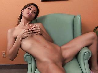 skinny brunette with perky