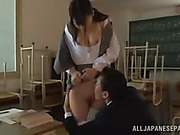 Busty Asian schoolgirl gives her teacher cock sucking and gets licked