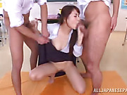 Bad teacher leaves students with her after school and enjoys the cumshot