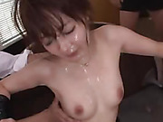 Japanese teacher in heat is about to have her wet pussy devoured during top rated gang bang at school
