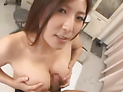 Steaming Japanese milf seductress is a horny teacher who likes to give sex lessons to her horny male students