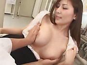 The hottie shows off her wonderful big tits to student