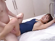 cute japanese babe with small tits loves getting nailed from behind