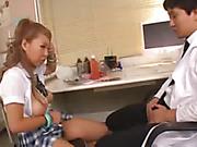 horny japanese schoolgirl gets fucked up her hairy cunt in school infirmary