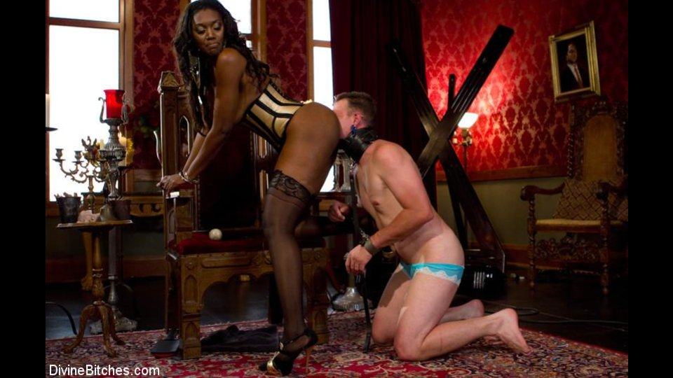 Ebony Fucks Buddy's Asshole And Forces Him To Lick Her Pussy