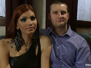 Gorgeous tranny in black stockings gives up her ass to a curious straight guy.
