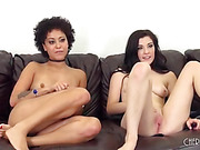 Natural and skinny girl are cheeky in this lesbian duo sex scene