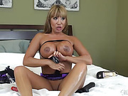 Crazy milf plays with tits and fucks her ass