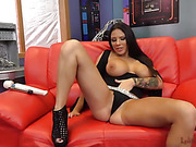 gorgeous brunette babe with big juicy tits plays with her fat pussy