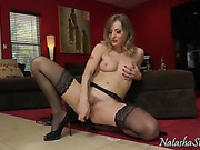 naughty brunette babe in sexy stocking fucks her pussy with toy