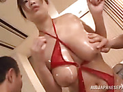 Girl takes off her clothing and stays in her sexy red lingerie, guy's are astonished by the beauty of her sexy body