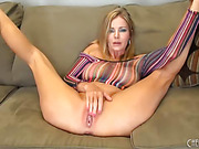 mature blonde milf dildo fucks and then spreads her cunt