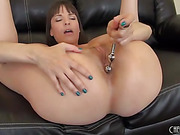freaky brunette slut loves to stick her dildo up her ass