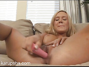 horny slut rubs her clit and fucks her pussy with a vibrato