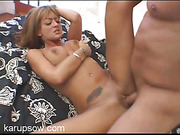 Tall and dark beauty gets fucked hard in her tight snatch