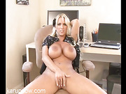 Juggy blonde MILF fucks her pussy with her favorite toy