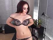 leggy brunette slut shows her small pink tits and masturbates