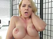 slutty blonde babe gets really horny and masturbates on the floor
