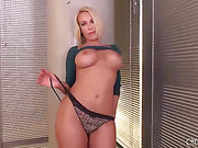 short haired blond emilf takes her clothes off and masturbates