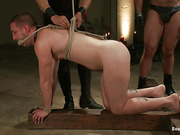 Two blindfolded gay slaves get tortured with bondage and hot wax by Asian master and his assistant