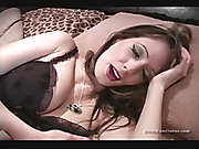 Lucky guy fucks hot blond wearing fishnets in the ass while pleasuring her with strap-on