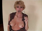 Hot Lolita shows her nice boobies and gives fantastic head using glasses
