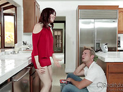horny redhead milf with pink tits hardcore fuck in the kitchen