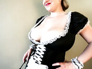 Blonde maid is ready to show her impressive set of boobs right now