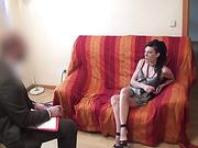 Alluring dark haired slut shows off and fucks her psychologist