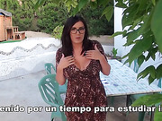 Dark haired professor slut with big tits gets rammed outdoors