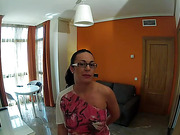 Raven haired MILF with glasses gets fucked on the couch