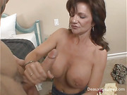 Sexy brunette milf with nice ass knows how to pleasure and enjoy long dong