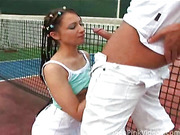 Naughty gal gets fucked by her coach in both holes on the tennis court