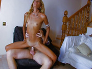 Wavy haired blond has a freaky all-wet fest with a big cock and cums endlessly