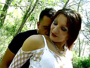 Filthy french prostitute fucks and sucks two random strangers in the woods