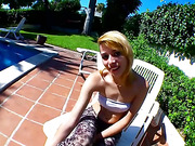 Blonde gives a poolside blowjob then rides a huge cock indoors