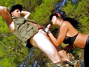 Hot busty spanish cops catches poacher and gets him off as a warning