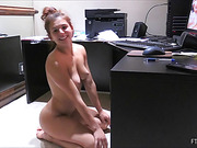 Boobilicious brunette babe massaging her shaved pussy with glass dildo and vibro