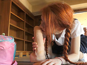 Lustful teen redhead with plaits in school uniform pounding her itchy cunt with huge dildo