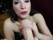 Beautiful brunette babe talks dirty and sucks a dildo in kinky POV.