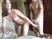 Horny babe gets her raw pussy fucked from behind by a stud.