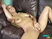 Alluring babe with steaming hot body peels off her turquoise bra and shows her hot boobs while she sits on a sybian before she lays naked on a brown couch and rubs her pussy while she jerks a huge dick til it spunks in her mouth.