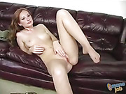 Gorgeous redhead slowly peels off her white blouse and green pants and expose her hot boobs and indulging body then takes off her blue and white striped panty and shows her lusty pussy before she rubs some lubricant on her hand and rubs it on a hard cock