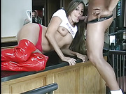 Banging babe pose her foxy body then lifts up her white shirt and shows her juicy boobs while she sucks her man's dick on the kitchen counter then she peels down her red panty and lets him bang her in doggy position wearing her red high boots.