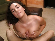 Hard cock gets rubbed until hot cum shot by curly haired fetish girl