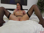 sexy Long black haired petite, skinny bitch perfectly sucked my dick