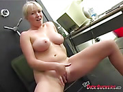 Big titted blonde haired sexy babe sucking dick and swallowing cum eagerly