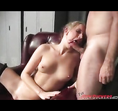 Blond haired curvy strip teasing and fingering her pussy, blowing dick
