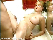 Busty mature babe gets her pussy fucked by long-haired dude.