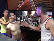 Tattooed dude gets used by two bully boys in the bar